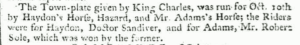 'Doctor Sandiver' winning the Newmarket Plate horse race in 1765 (see below or click image for source and acknowledgements etc., ref. Image 2).