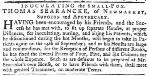 A 1764 notice from Thomas Searancke 2 about his smallpox inoculation houses (see below or click image for source and acknowledgements etc., ref. Image 3).