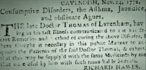 Richard Hawes advising the public that he'd acquired some secret remedies (see below or click image for source and acknowledgements etc., ref. Image 2).