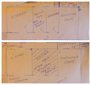 Hand drawn plans of the old surgery area in the house, pre-NHS layout above, new NHS layout below (see above or click image for source and acknowledgements etc., ref. Image 3).