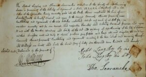 A document from 1770 relating to Thomas Searancke 2's membership of the Society of Apothecaries; the phrase 'the art and mistery of apothecaries' in the middle of the seventh line down is particularly interesting - for a full transcription see the references below (see below or click image for source and acknowledgements etc., ref. Image 2).