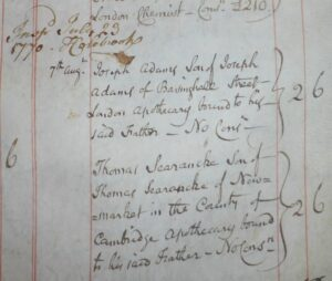 The start of Thomas Searancke 3's apprenticeship to his father Thomas Searancke 2 of Newmarket, recorded at the Society of Apothecaries in London in 1770 (see below or click image for source and acknowledgements etc., ref. Image 1).