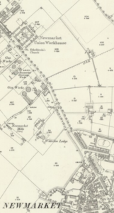 The 1901 OS map of Newmarket, showing even then the building was well out of town (see below or click image for source and acknowledgements etc., ref. Image 3).