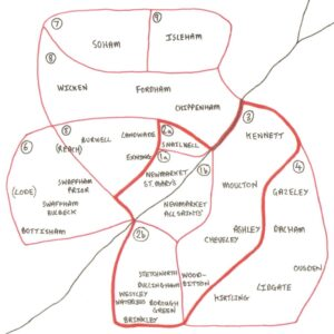 A diagram illustrating the settled nine medical districts of the Newmarket Union in 1842, including which parishes were involved, highlighting the central three served by Newmarket based medics (see below or click image for source and acknowledgements etc., ref. Image 5).