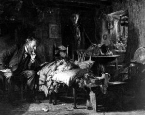 A 19th century medic in a poor cottage pondering the case of a sick child (see below or click image for source and acknowledgements etc., ref. Image 4).
