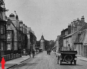 Brackley House is on the far left hand side of this old photograph, as marked, the bay windows before the Rous Road turning just past it on the left (see below or click image for source and acknowledgements etc., ref. Image 1).