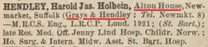 The 1926 Medical Directory (see below or click image for source and acknowledgements etc., ref. Image 3).