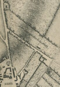 'Dr Searancke's Lazaretto' marked on Chapman's 1768 map of Newmarket, immediately north of what's now Exeter Road - see the paragraph under image 2 below regarding 'Lazaretto' (see below or click image for source and acknowledgements etc., ref. Image 1).